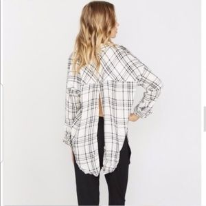 The Laundry Room Tops - Black and white Plaid Flannel Shirt